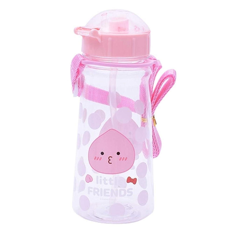 KAKAO FRIENDS - Premium Tritan Material BPA Free, with Straw, Strap Water Bottle 15.2oz (2.9 inch x 7 inch) for Kids, Pink (Little Apeach)