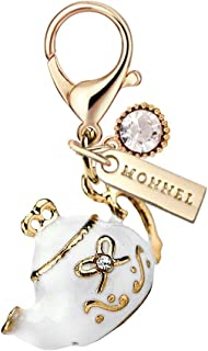 MC93 New Arrival Cute White 3D Teapot Lobster Clasp Charm Pendant with Pouch Bag (1 Piece)