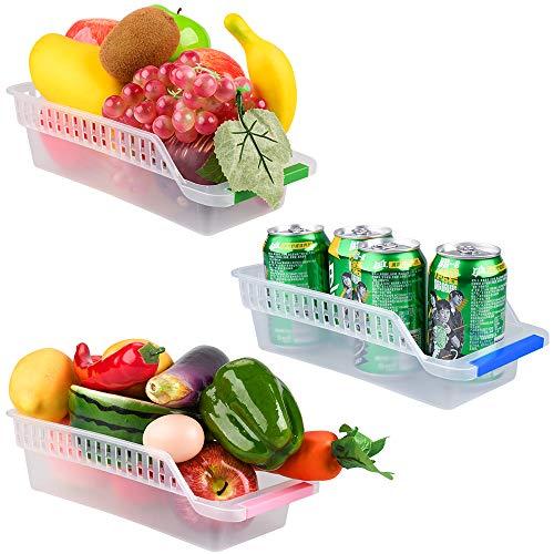E-Senior Kühlschrank Organizer, Kühlschrank Container, platzsparender Organizer für Kühlschrank, Küche & Zuhause (3Stück/ Zufällige Farbe)
