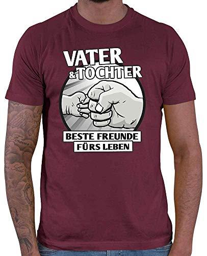 HARIZ Herren T-Shirt Vater & Tochter - Beste Freunde fürs Leben Papa Vatertag Baby Plus Geschenkkarte Wein Rot M