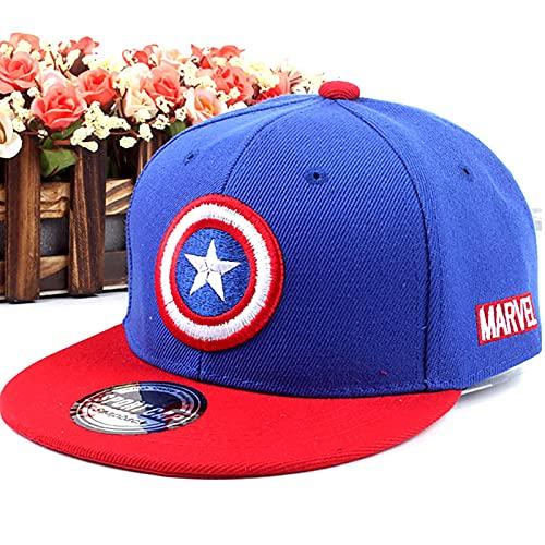 PRETAY Avengers Captain America Snapback Cap,Marvel Logo Baseball Cap,Jungen Avengers Schirmmütze,Iron Man, Black Panther und Captain America Motiv für Kinder, Jungen und Mädchen