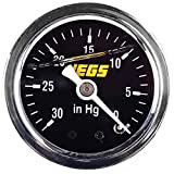 """JEGS Vacuum Gauge   Liquid-Filled   30"""" To 0"""" Hg Reading   1/8 """" NPT Male Fitting   Chrome Case   Black Face   White Needle, Numbers, Hashes   With Yellow JEGS Logo"""