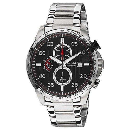0043684d8 Accurist MB1027B Mens Chronograph Black Steel Bracelet Watch ...