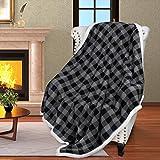 Manta reversible y supersuave de 152 x 127 cm con estampado de cuadros negros y grises, ideal para cama o sofá, de Catalonia, microfibra, negro, 152 x 127 cm