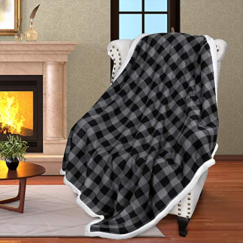 Buffalo Plaid Sherpa Throw Blanket,Reversible Soft Warm Snuggle Micro Fleece Plush Throws for Bed Couch TV,60x50 Inches,Black Checkered
