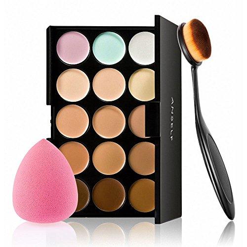 Concealer Palette, 15 Colors Makeup Palette Facial Camouflage Contour Palette with Sponge Puff Oval & Makeup Brush Beauty Make up Cream