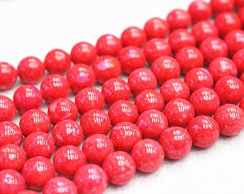 Perles Fossil rondes et lisses de 4 mm, 6 mm, 8 mm, 10 mm, 12 mm. Vente en gros. Perles rouges (3, 10 mm, 37 pièces)