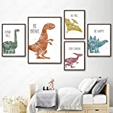 Dinosaurios Lienzos Decorativos Pintura Posters Inspiradores Impresiones Acuarela Dibujos Animados Dinosaurios Cuadros Decoración de Habitación de Niños A3 30x42cmx4 B2 50x70cm Sin Marco