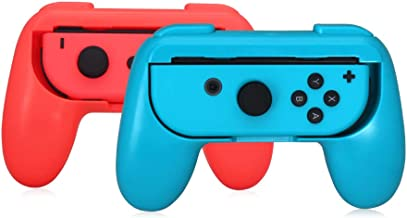 Jon Con Grip, Lammcou Joy-con Handle Grip for Nintnedo Switch Console Joy Con Controller in NS Nintendo Switch Multiplayer Games Mario Kart Super Mario Odyssey Street Fighter 2 - Blue&Red