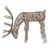 Alpine Corporation Outdoor/Indoor Rattan Grazing Reindeer with Lights - Christmas and Holiday Decoration for Yard - 24-Inches