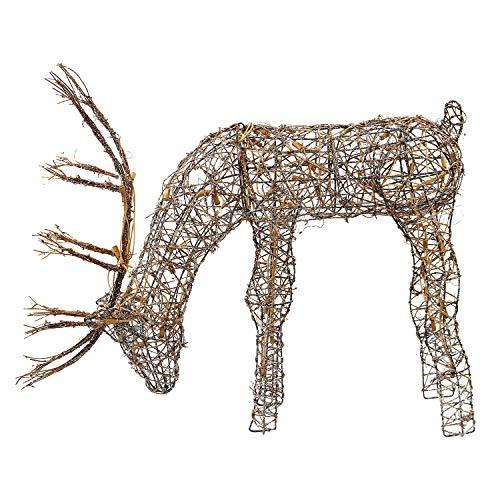 Alpine Corporation Outdoor/Indoor Rattan Grazing Reindeer with Lights...