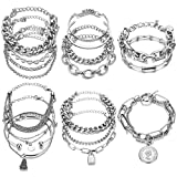 17IF 18 Pcs (6 Pack) Silver Bracelets Set for Women Girls Boho Chain Multiple Layered Stackable Bangle 14K Silver Plated Mothers Day Gift Open Adjustable Cuff Italian Cuban Charm Chunky Bracelet Jewelry for Love