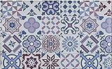 Baroni Tappeto Passatoia in Vinile da Cucina 46x76 Cm Decoro Maioliche Colorato in PVC Antiscivolo Lavabile