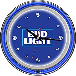 Bud Light 14 Inch Neon Wall Clock - Block Text Blue Silver White Unisex Chrome Glass