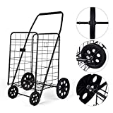 AHXML Shopping Cart, Utility Cart, Lightweight Easy to Move Trolley for Groceries, Compact Folding Portable Cart Saves Space