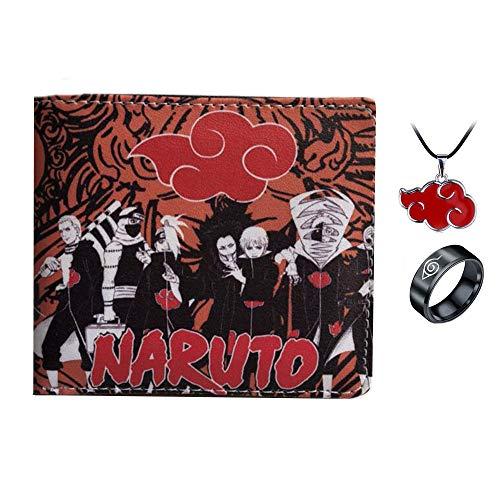 Anime Naruto Pu Cartera Corta Monedero Dibujos Animados con Anillo Collar