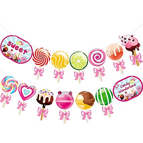 Candy Banner Lollipop Garland Candyland Party Decorations Candy Theme Cutout for Kids Girls Party Supplies, Birthday, Baby Shower, Wedding