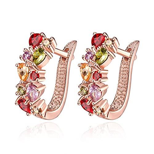 VONSSY Pendientes de aro Huggie con brazalete de racimo de múltiples gemas chapados en oro rosa Pendientes colgantes con forma de gota de cristal Cz Circonita cúbica Perno de colores de neón
