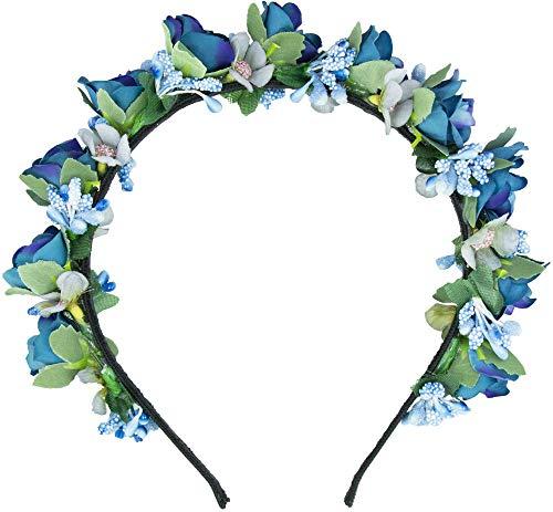 Trachtenland Blumen Haarreif Sabia - Bezaubernder Haarschmuck zum Dirndl, für Hochzeiten, Kommunion oder Festivals (Einheitsgröße, Blau)