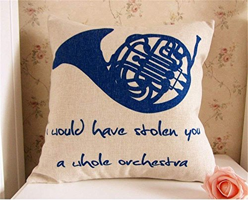 45 x 45CM How I Met Your Mother Blue French Horn Linen Cushion Cover Pillowcase/Copricuscini e federe ;FW892HJT23T425265