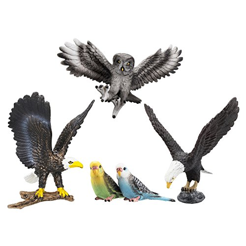 TOYMANY 5PCS Realistic Textures Bird Figurines, Tiny Birds Animal Figures Toy Set Includes Bald Eagles Owl, Easter Eggs Educational Christmas Birthday Gift Set for Boys Girls Kids Toddlers