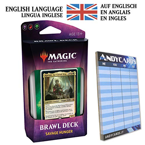 Andycards Savage Hunter in English - Brawl Deck Throne Eldraine Black Red Green - MTG Magic The Gathering + Scorepad
