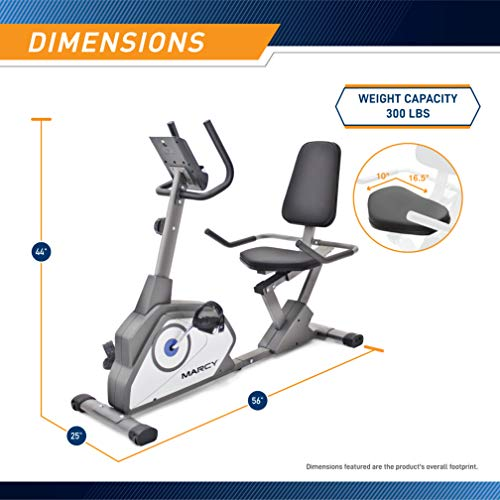 Product Image 2: Marcy Magnetic Recumbent Exercise Bike with 8 Resistance Levels NS-40502R,Grey