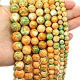 Oameusa 10mm Synthesis Agate Beads Orange Green Rainstone Beads Gemstone Round Loose Beads Agate Beads for Jewelry Making 1 Strand 15' 1 Strand per Bag-Wholesale