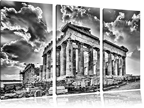 Pixxprint Antike Säulen Griechenland / 3-Teilig/Gesamtmaß 120cm Leinwandbild bespannt auf Holzrahmen/Wandbild Kunstdruck Dekoration