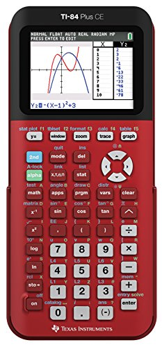 Texas Instruments TI-84 Plus CE Color Graphing Calculator, Radical Red