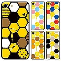 スマホケース ラウンド ガラス ハニカム柄 蜜蜂 ハチ みつばち はちみつ ブラック iphone7 iphone8 iphoneSE(第二世代)