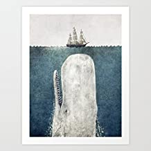 VEHFA The Whale - Vintage Art Print Canvas Wall Art for Home Decoration Wooden Framed 16
