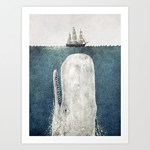 VEHFA The Whale - Vintage Art Print Canvas Wall Art for Home Decoration Wooden Framed 16' X 20'
