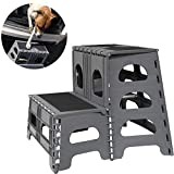 Bee Neat Folding/Portable Dog Steps for Large, Medium and Small Doggies - Indoor Outdoor Pet Stairs Ideal for High Bed, Car, SUV & More