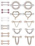 SCERRING 14G Nipple Rings Stainless Steel Nipplerings CZ Heart Tongue Shield...