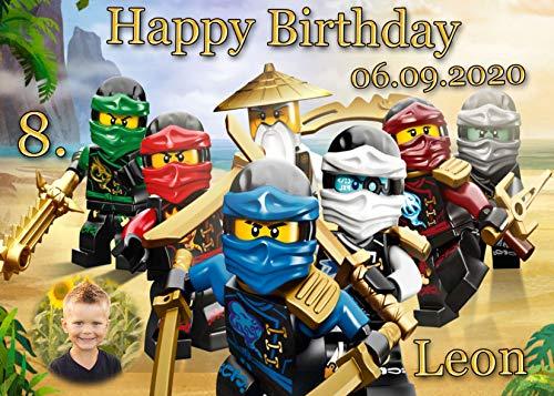 Tortenaufleger Fototorte Tortenbild Kindergeburtstag Ninjago NJ05 (Zuckerpapier) DIN A5 mit Foto