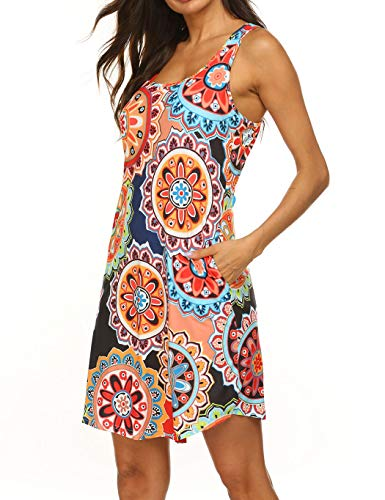 LuckyMore Womens Summer Dresses Casual Beach Damask Print Racerback Tank Dress...