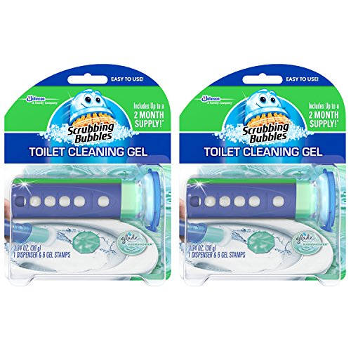 Scrubbing Bubbles Toilet Bowl Cleaning Gel Starter Kit, Includes Dispenser and Gel, Glade Rainshower Scent, 6 Stamps, Pack of 2 (12 Total Stamps)