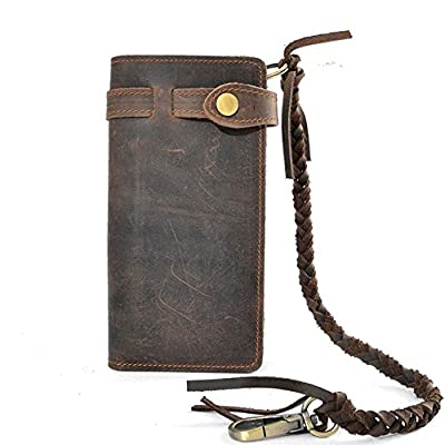 Mens Wallet with Chain Leather Long Bifold Trucker Wallet Vintage Biker Money Clip with Zipper (Dark Brown)