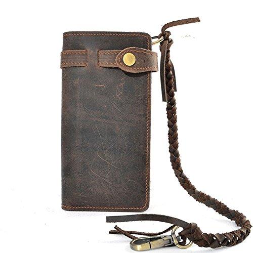 Mens Wallet with Chain Leather Long Bifold Trucker Wallet Vintage Biker Money Clip with Zipper,Dark Brown