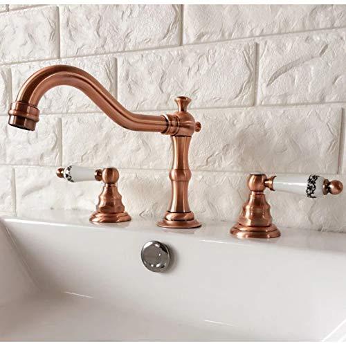 Manijas de cerámica dobles montadas en cubierta de latón de cobre rojo antiguo Baño generalizado Grifos mezcladores de 3 orificios para lavabo