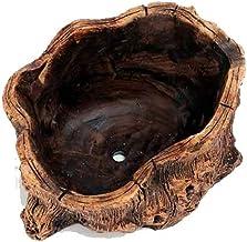 LJBH Creative Personality Retro Cement Anti-tree Head Wood Fleshy Flower Pot Tree Root Peg Green Plant Potted Platter,A, B...