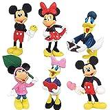 6 Pieces Mickey Cake Topper,Minnie Cake Decoration,Mickey theme party supplies,Mini Figures Set Birthday Party Supplies (Mickey, Minnie, Daisy, Donald)