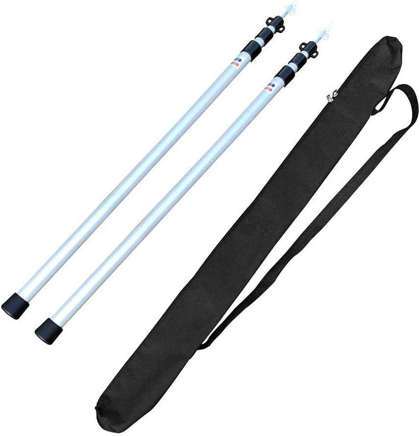 2Pcs Portable Adjustable Aluminum Tent Pole 230CM//90.55in Used For Awning Camping bulrusely Telescopic Tent Poles Change Canopy Adjustable Aluminum Pole