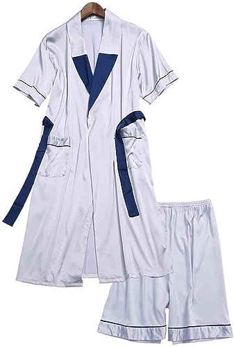 JBHURF Chemise de nuit pour hommes été à hommeches courtes peignoirs peignoirs longue section costume de chemise de nuit pour hommes printemps et en été