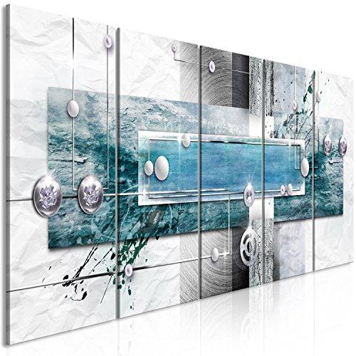 murando Cuadro en Lienzo Abstracto 200x80 cm Impresión de 5 Piezas Material Tejido no Tejido Impresión Artística Imagen Gráfica Decoracion de Pared Gris Beige Blanco Azul Turquesa a-A-0343-b-p