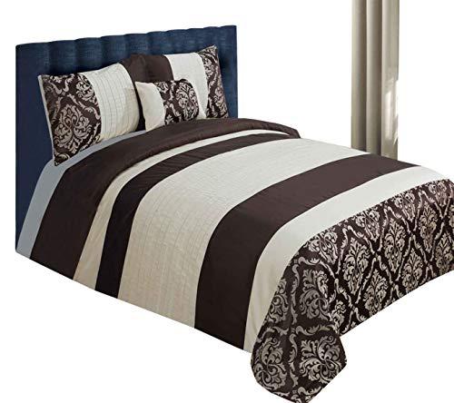 Sterling Mill - Juego de funda de edredón y funda de almohada con funda de almohada y funda de cojín, seda sintética, color marrón chocolate y crema, seda sintética, marrón/marfil, matrimonio