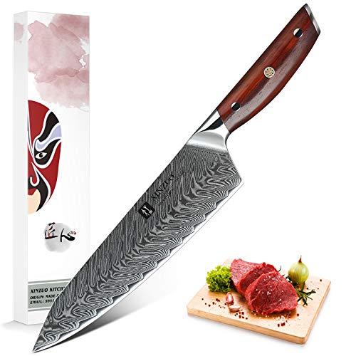 XINZUO 21cm Acero de Damasco Cuchillo Chef, Súper Acero Japonés Cuchillo de...