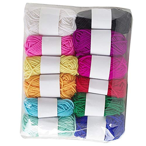 EXCEART 12pcs Weaving Yarn Colored Acrylic Knitting Yarn Worsted Weight Yarn for Sweaters Scarves...
