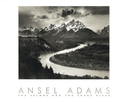 Snake River and the Tetons by Ansel Adams 30x24 Black & White Landscape Print Poster by Picture Peddler
